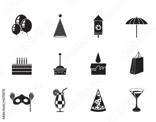Silhouette Party and holidays icons