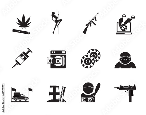 Silhouette mafia and organized criminality activity icons