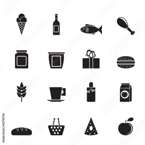 Silhouette shop, food and drink icons