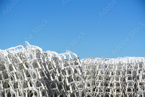 Sea of piled beach chair texture
