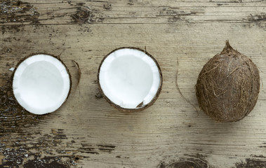 Coconut on wooden background