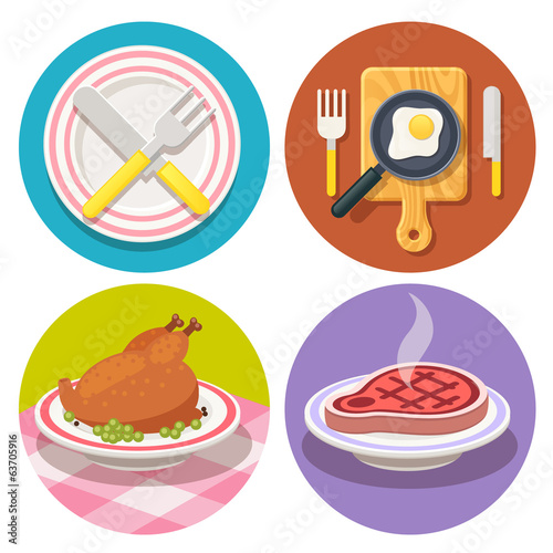 set of food and dish icons in flat design