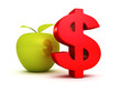 big red dollar symbol with green apple. business success