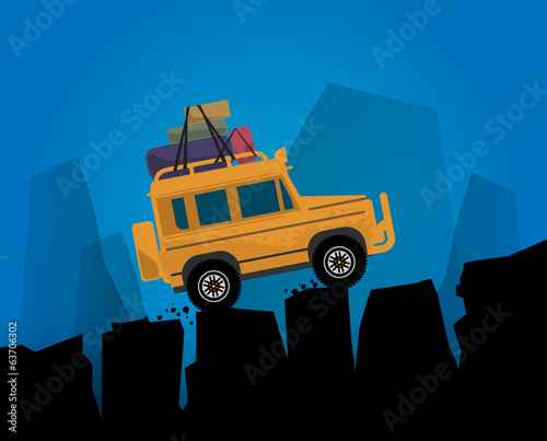Off-road vehicle abstract background, vector illustration