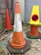 canvas print picture - traffic cones decay
