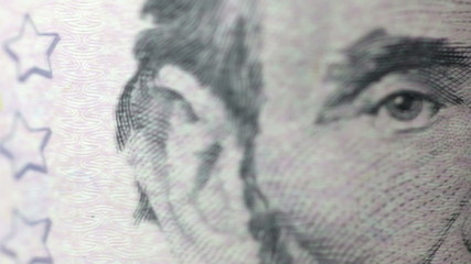 Five dollar bills, close up, rotate. Macro.