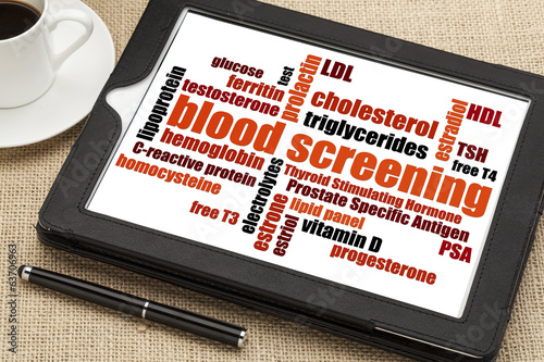 blood screening word cloud