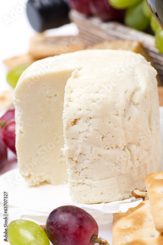 fresh cheese and fruit, close-up