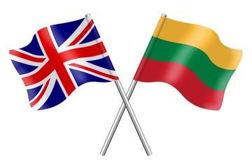 Flags: United Kingdom and Lithuania