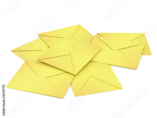 Heap of Envelopes isolated on white background