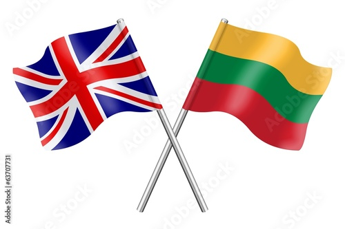 Flags: United Kingdom and Lithuania