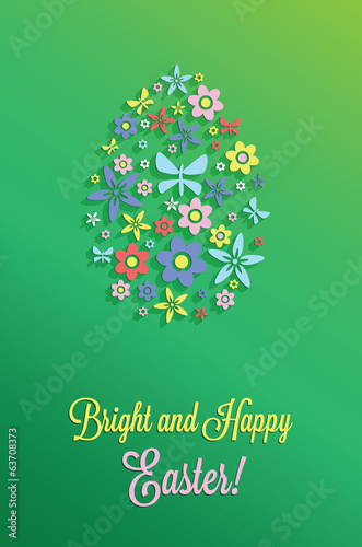 Easter greeting card with paper flowers