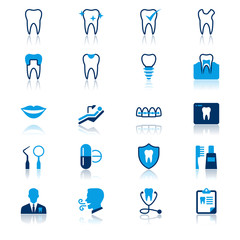 Dental flat with reflection icons