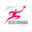 RedStarMan - running man with star in hand - Logo Sign
