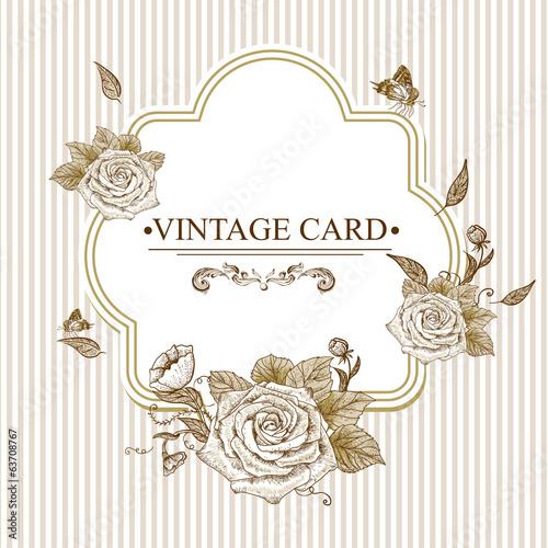 Vintage Floral Card with Roses and Butterflies.