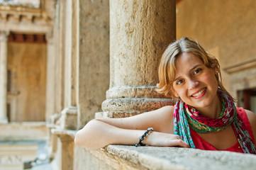 Tourist in Rome at Santa Maria della Pace Church