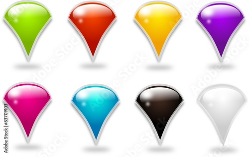 Set of different colored button