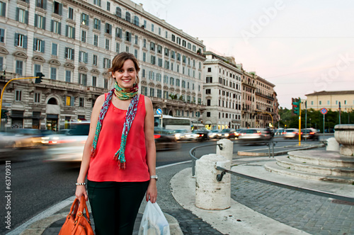 Tourist in Rome with souvenirs