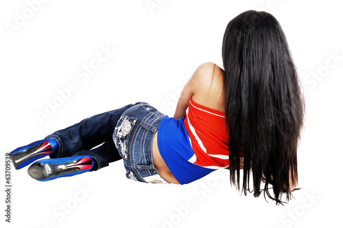 Girl lying on floor.