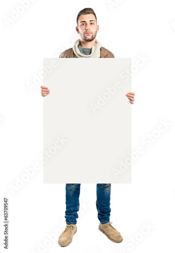 handsome man holding an empty textured cardboard