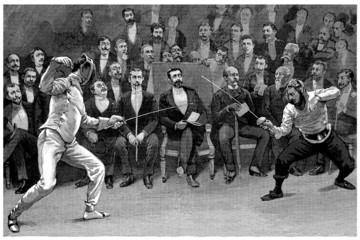 Competition : Fencers - Escrime - end 19th century