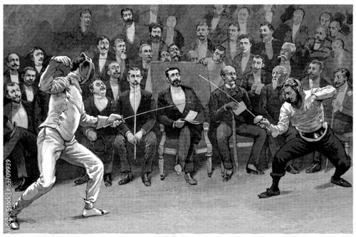 Competition : Fencers - Escrime - end 19th century