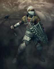 guerriero con martello e scudo