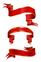 set of red festive ribbons