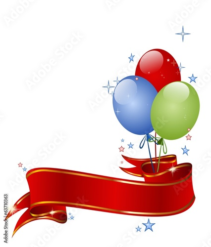 Festive background with balloons, red ribbon entwined