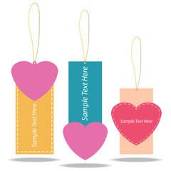 Vector illustration of Heart Tags Design