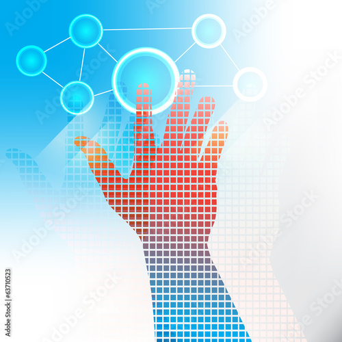 Vector illustration of hand pushing a button on a touch screen