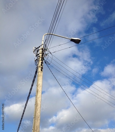 powerlines against a blue sky