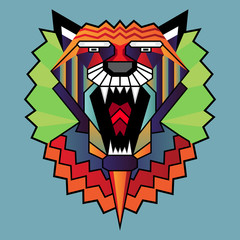 Vector illustration of lion head in pattern