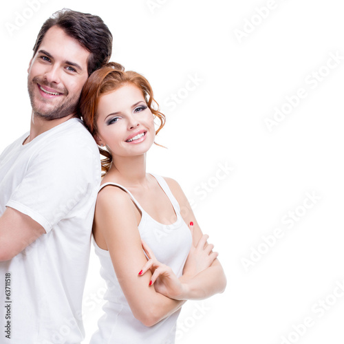 Cheerful happy young couple.