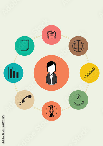 Vector illustration of Set icons for businesswoman finance
