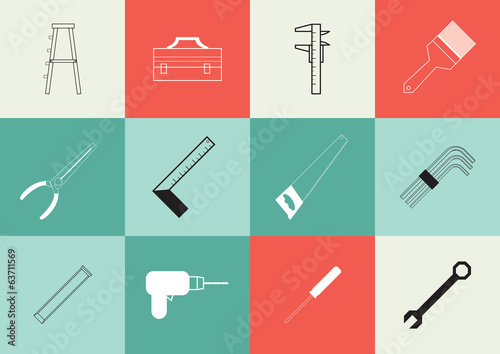 Vector illustration of Set of icon tools