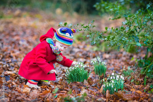 Cute little toddler girl smelling beautiful snowdrop flowers