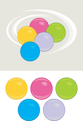 Colored balls isolated on the white and light gray