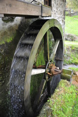 Traditional wooden water mill wheel