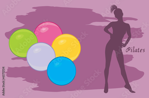 Pilates colored balls. Background