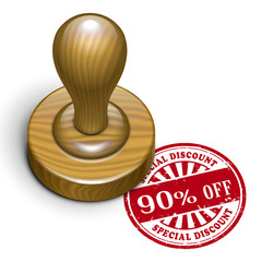 90 percent off grunge rubber stamp