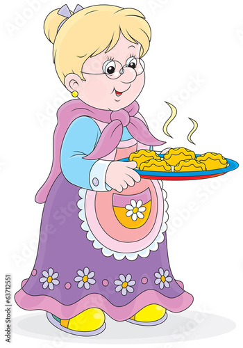 Grandmother with a tray of freshly baked patties