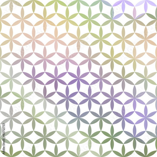 Green and lavender background with white geometric ornament