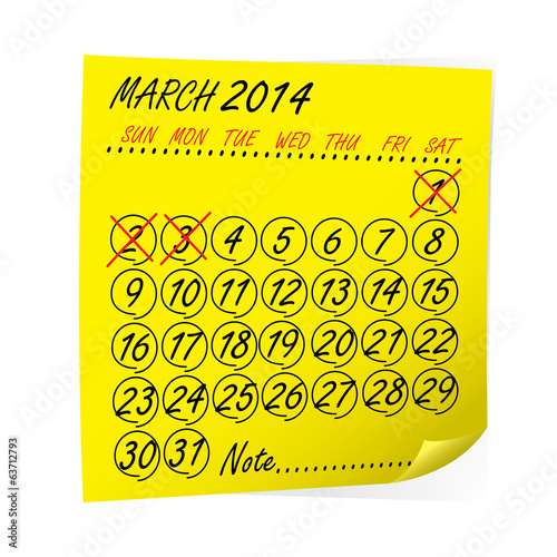 yellow post it notes with Calendar March 2014