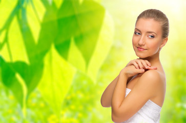 Healthy woman on spring background