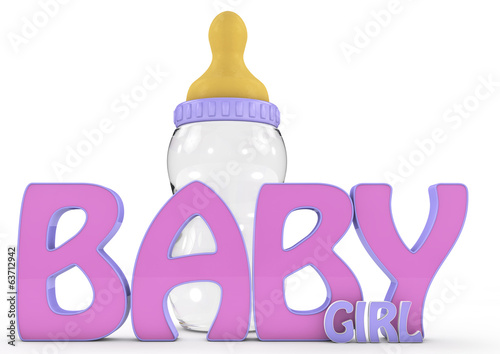 A Colourful 3d Rendered Baby girl text.