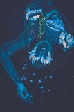 Beautiful lying woman with body art glowing in ultraviolet light poster