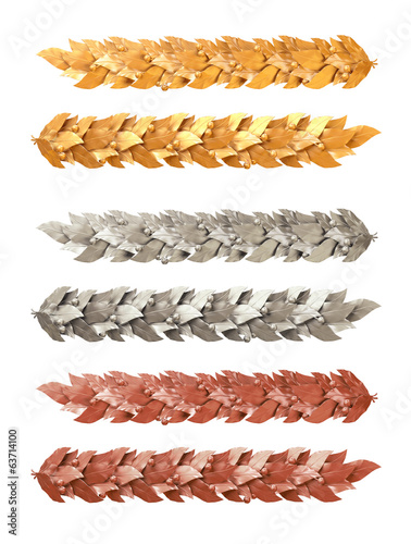 Gold, silver and bronze decorative strip of Laurel branches