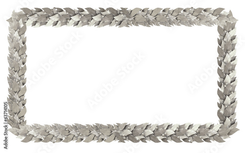 Silver rectangular frame of Laurel branches