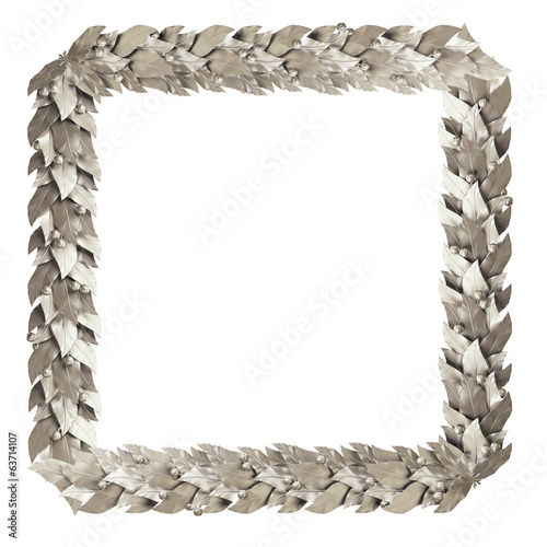 Square silver frame branches of Laurel
